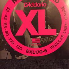 D'Addario D'Addario EXL170-6 XL Nickel Wound 6-String Bass Strings, Regular Light, Long Scale