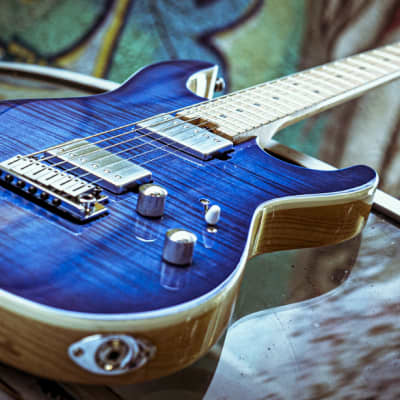 Cort G290 FAT Bright Blue Burst, Flamed Maple Top, Swamp Ash Body for sale