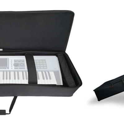 Rockville 61 Key Keyboard Case w/ Wheels+Trolley Handle For Roland FANTOM X6