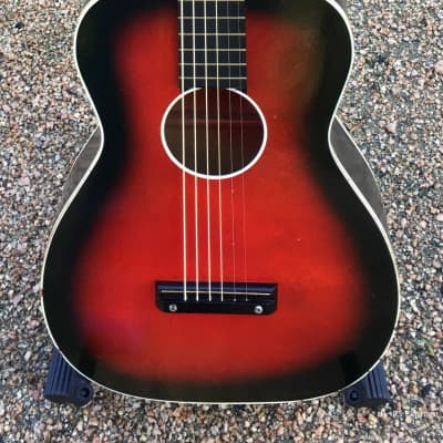 Airline  Acoustic Parlor Guitar 1960's,  Lovely Red Burst,  With Case for sale