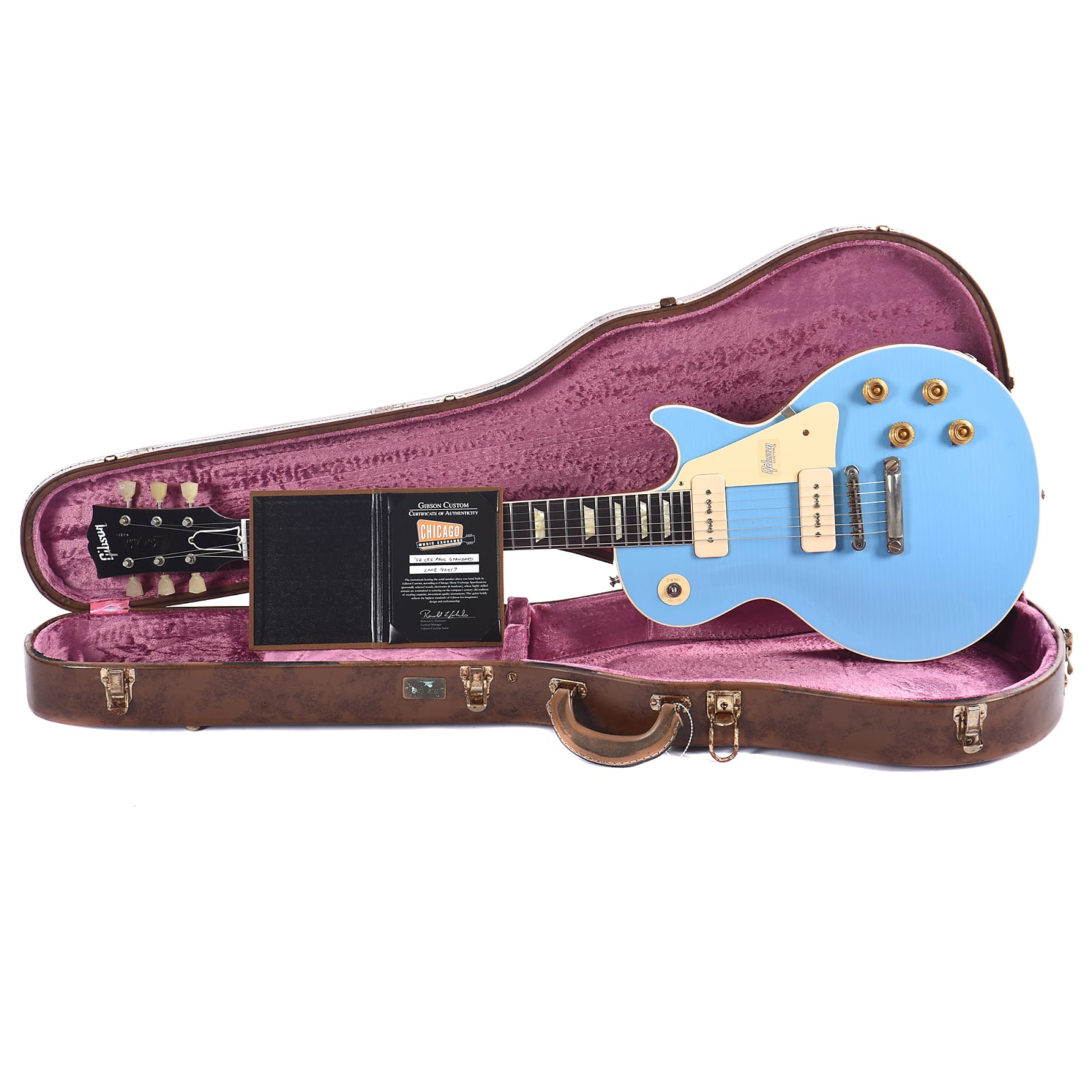 Gibson Custom 1956 Les Paul Standard Frost Blue Lightly Aged 2019 (Serial #CME90017)