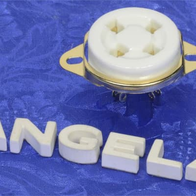 One Four (4) Pin White Ceramic And Gold Top Chassis Mount Tube Socket For 300B, 2A3, 6A3 Etc.