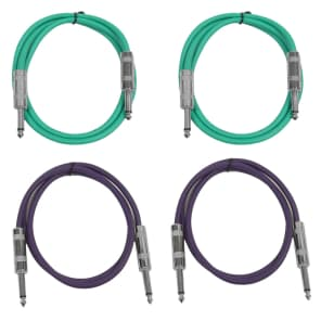 """Seismic Audio SASTSX-2-2GREEN2PURPLE 1/4"""" TS Male to 1/4"""" TS Male Patch Cables - 2' (4-Pack)"""