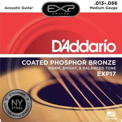 D'Addario EXP Coated Phosphor Bronze Acoustic Guitar Strings - Medium   EXP17