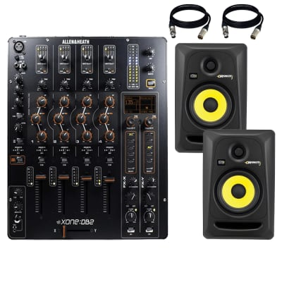 Allen & Heath Xone:DB2 Professional DJ FX Mixer + KRK RP5G3-NA Rokit 5 Generation 3 Powered Studio Monitor - Pair and Cables.