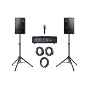 """Alesis PA System In A Box 4-Channel Mixer with 280w Passive 10"""" Speakers, Mic, Stands, and Cables"""