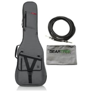 Gator GT-ELECTRIC-G GRAY Transit Electric Guitar Gig Bag with Light Grey Exterior w/ Polish Cloth and Cable