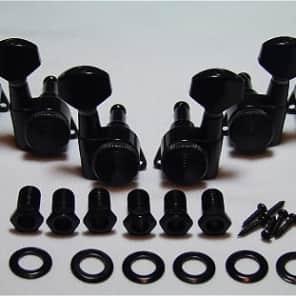 Guitar Parts Thumbwheel Lock - LOCKING - 3x3 - TUNERS SET - Black