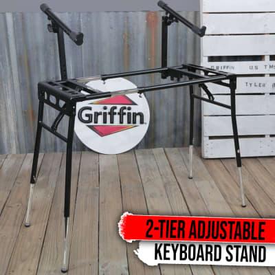 Keyboard Stand DJ Workstation Table Top Laptop Holder 2 Tier Double Studio Mount