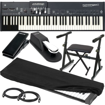 StudioLogic Numa Organ 2, Plixio Keyboard Stand,Keyboard Bench, Sustain Pedal, Nektar NX-P, (2) 1/4 cables, (2) Midi cables, Dust Cover Bundle