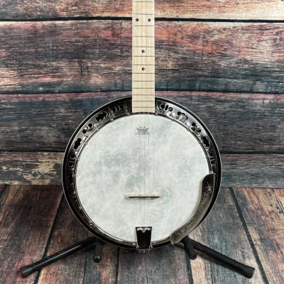 Ortega Left Handed OBJE400TCO-L Falcon Series 5 String Acoustic Electric Banjo - Transparent Charcoal for sale