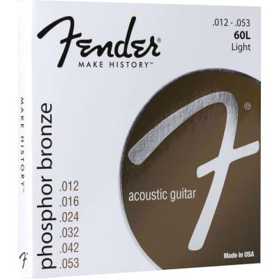 Fender Phosphor Bronze Acoustic Guitar Strings, Ball End, 60L .012-.053 Gauges for sale