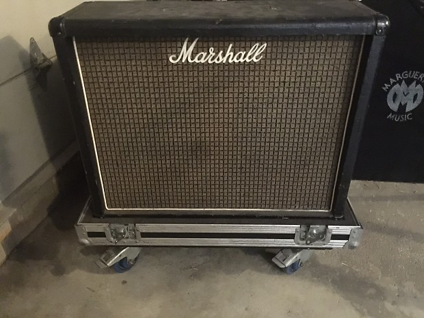 Marshall 2x12 Cabinet 70's Original Black Tolex/Checkerboard grill w/ATA  case