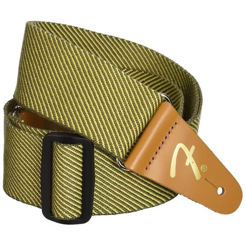 "Genuine Fender 2/"" Vintage Yellow Tweed Adjustable Guitar Strap with F Logo"