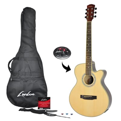 Lorden Acoustic-Electric Small Body Cutaway Guitar Pack (Natural Gloss) for sale