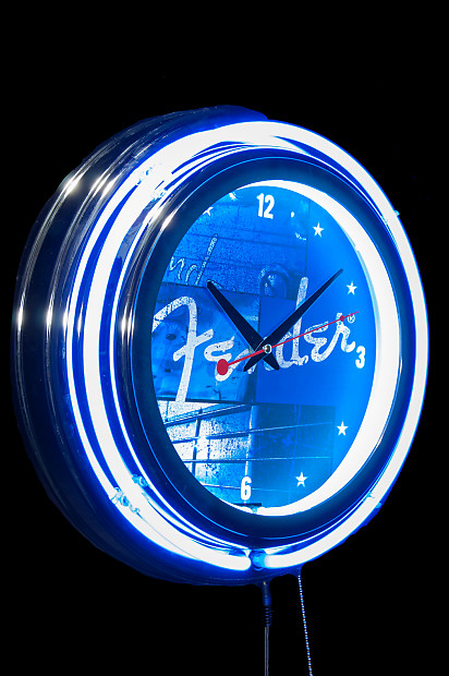 Fender Stacked Blue Neon Wall Clock Reverb