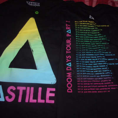 ONE Bastille Doom Days Tour Part 1 Concert T Shirt  Small S/P/CH black new seconds writing bit faded