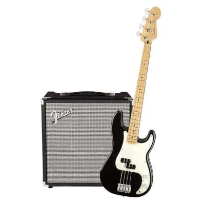 Fender Player Precision Bass Black Maple  & Fender Rumble 25 Bundle for sale