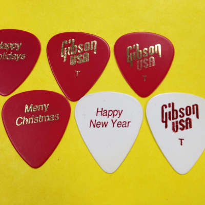 (6) New Old Stock Gibson Thin Holiday Picks 70's   Red/White for sale
