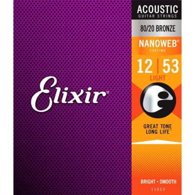 Elixir 11052 Nanoweb Light Acoutic Strings 12-53
