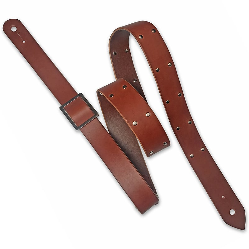 84535aae4a46 Leather Guitar Strap Handmade in Canada - Gold Corium Rock | Reverb