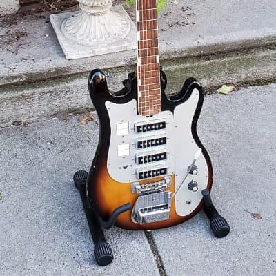Vintage Teisco Del Rey WG-4L 1960s 2-Tone Sunburst Solid Mahogany Guitar~4 PUP Tone Wizard~MIJ~NOCC