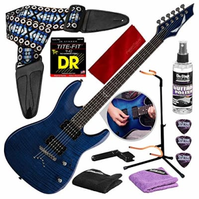 Dean Custom 350 Electric Guitar, Trans Blue with Guitar Stand & Care Kit Deluxe Accessory Package for sale