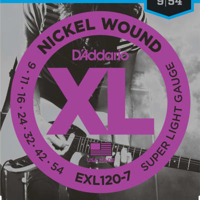 D'Addario 7-String, Super Light, 9-54, Electric Guitar Strings EXL120-7