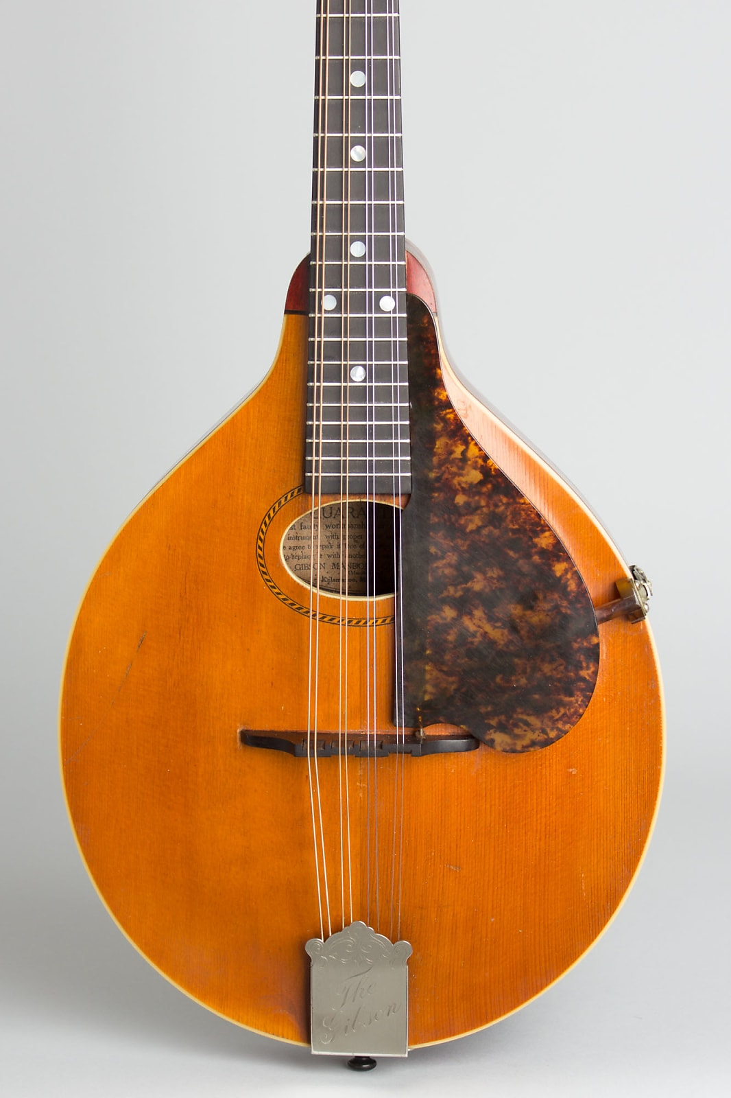 Gibson  Style A Carved Top Mandolin (1917), brown chipboard case.