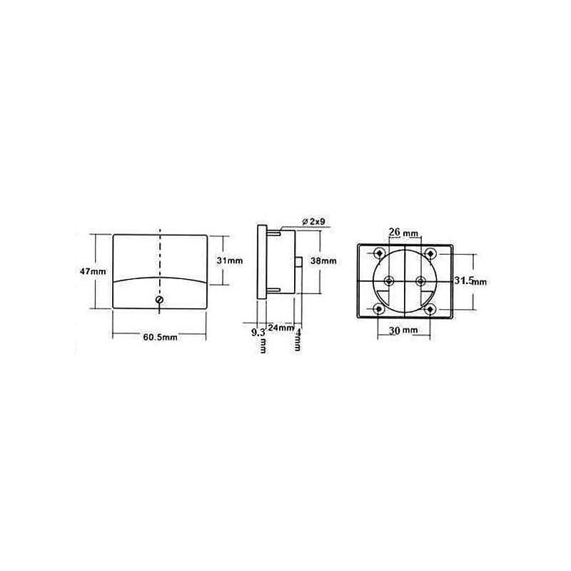 60X47mm AMPEREMETRE ANALOGIQUE DE TABLEAU 100mA CC AIM60100 100150