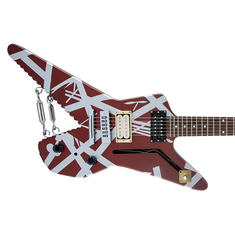 2019 Evh Striped Series Shark Guitar In Burgundy W Silver Reverb