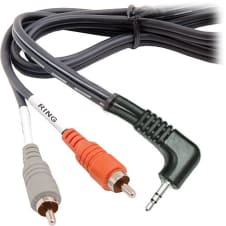 Hosa - CMR-203R - 3-Feet 3.5mm TRS Right-Angle to RCA Y Cable
