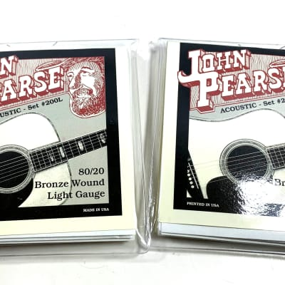 John Pearse Guitar Strings 2-Packs Acoustic 80/20 Bronze Wound Light #200L