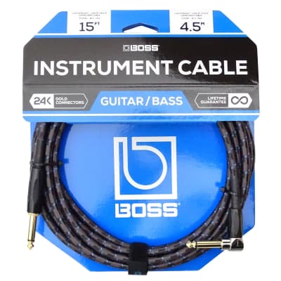 "Boss BIC-15' 1/4"" Angled Instrument Cable 15'"