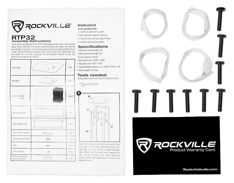 1 Rockville Black Adjustable Totem Stand For Peavey