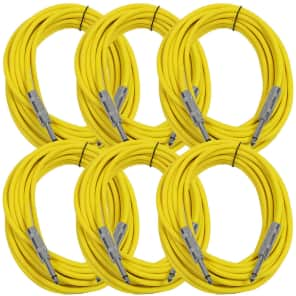 """Seismic Audio SASTSX-25YELLOW-6PK 1/4"""" TS Instrument/Patch Cable - 25' (6-Pack)"""