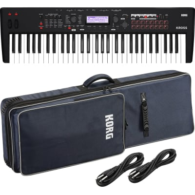 Korg KROSS 2 61-Key Synthesizer Workstation (Super Matte Black), KORG KROSS 2 Soft Case, (2) 1/4 Cables Bundle