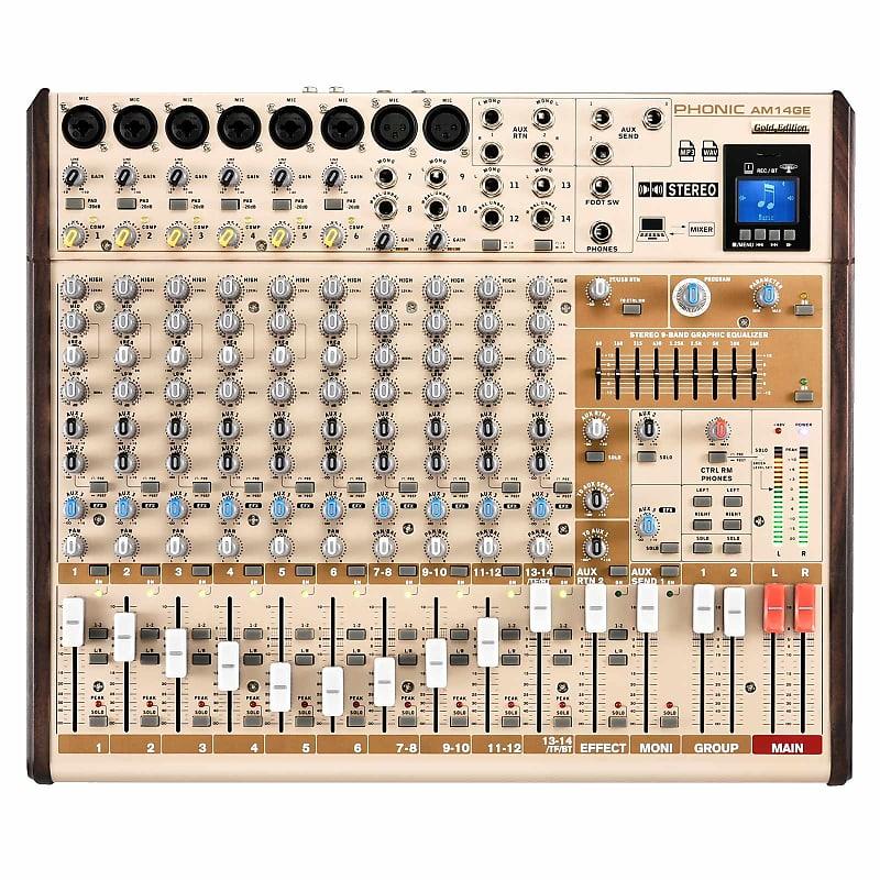 Phonic AM14GE 6-Mono 4-Stereo Input 2-Group Mixer w/FX, USB Bluetooth Mixer
