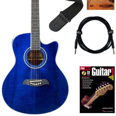 Oscar Schmidt OA10CE Mini Auditorium Cutaway Acoustic-Electric Guitar - Transparent Blue Bundle with Cable, Tuner, Strap, Picks, Book, DVD, and Austin Bazaar Polishing Cloth for sale