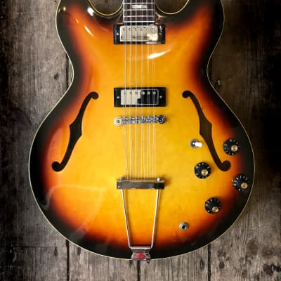1967 Epiphone Riviera 12 String in Sunburst finish with hard shell case for sale