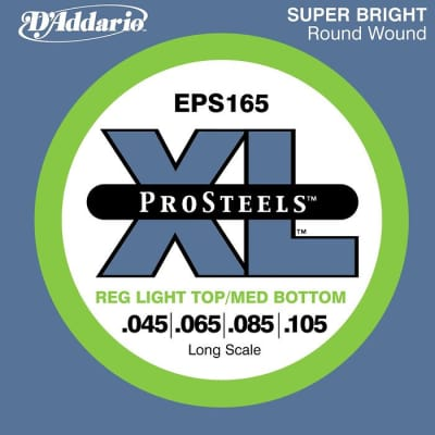 D'Addario ProSteels EPS165 Light Top-Medium Bottom Long Scale Bass Strings 45-105