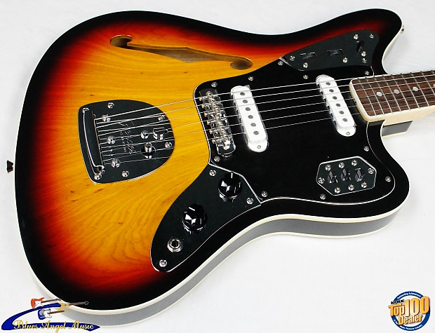 fender special edition jaguar thinline, 3-tone sunburst made | reverb