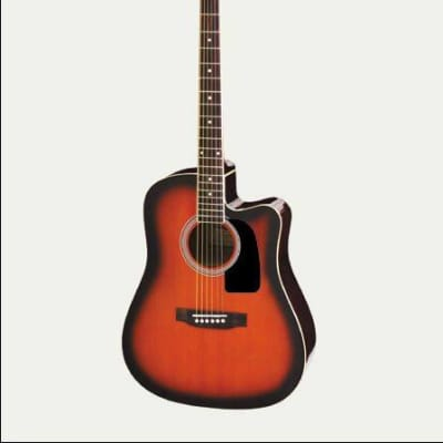 Aria aw15ce-bs chitarra folk cuatway brown sunburst for sale