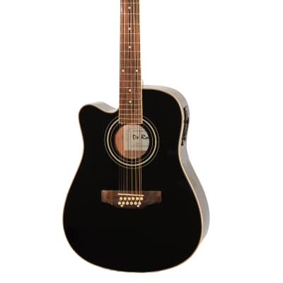 De Rosa GACE41-AW12-BK-LFT Spruce Top Mahogany Neck 12-String Acoustic-Electric Guitar Left-Handed for sale