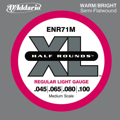 D'Addario ENR71M Half Round Bass Guitar Strings Regular Light 45-100 Medium Scale