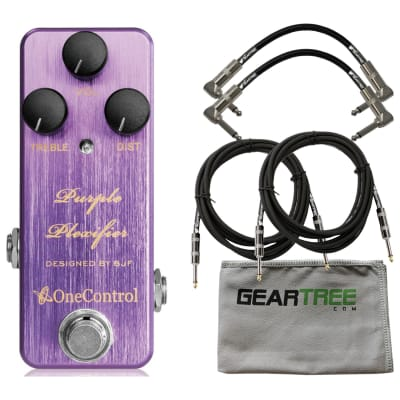 One Control Purple Plexifier Distortion Pedal w/ Geartree Cloth and 3 Cables
