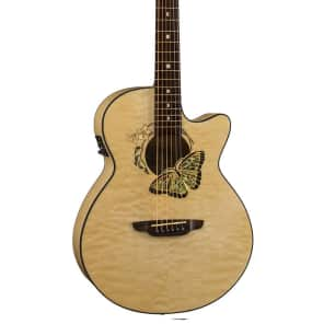 Luna Fauna Series Butterfly Cutaway Acoustic-Electric Guitar - Natural, FAU BTFLY for sale
