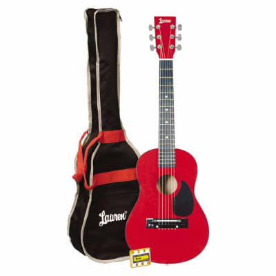 Lauren LAPKMRD 30-Inch Student Acoustic Guitar Package, 1/2 Size, Metallic Red for sale
