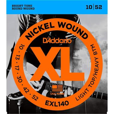 D'Addario EXL140 Light Top / Heavy Btm Nickel Wound Electric Guitar Strings 10-52