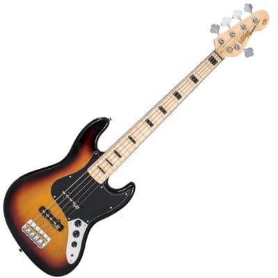 Vintage Bass VJ75MSSB Blk Block Inlays, 5 String, Sunburst